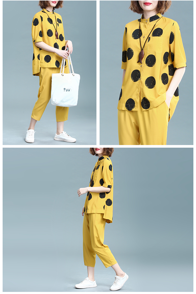 2019 Summer Cotton Linen Two Piece Sets Outfits Women Plus Size Dot Print Shirts And Pants Suits Casual Vintage 2 Piece Sets 34