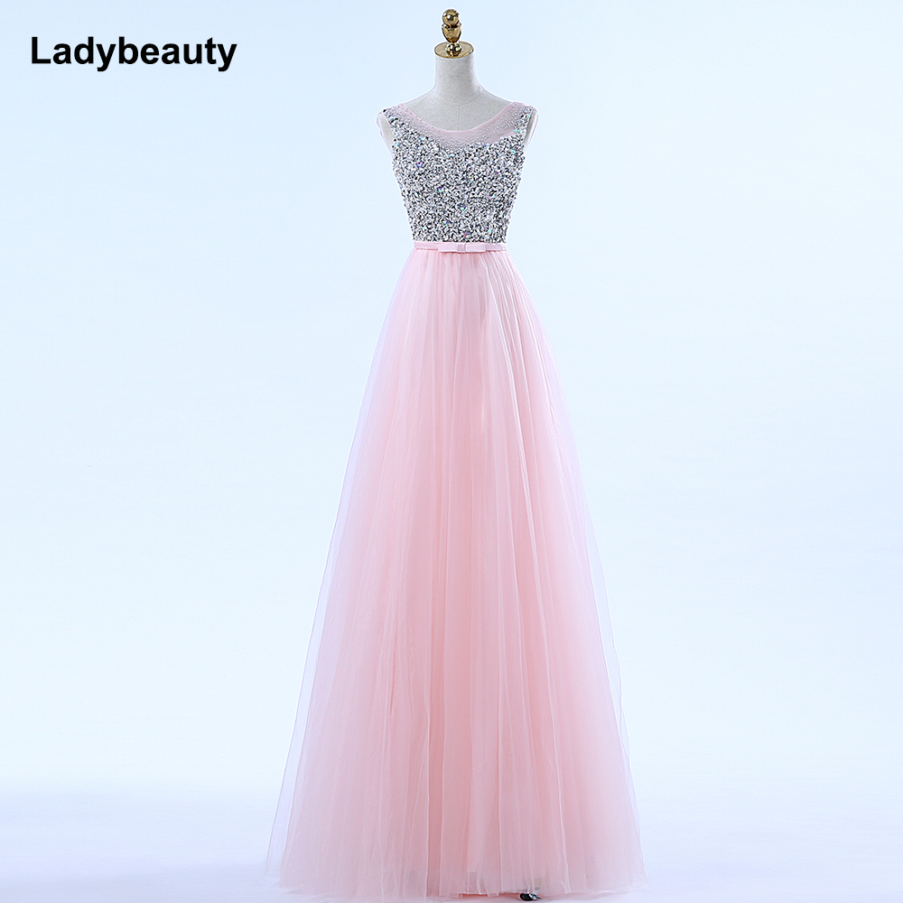 Ladybeauty New Arrival Luxury Long Style Dresses Bling Beading Tulle Evening Dresses Prom Party Crystal Pearls