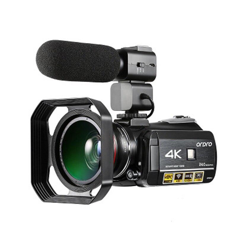 New AC3 4K Digital Video Camera WiFi IR Night Vision Touchscreen Video Camera w/0.39X Wide Angle Lens++Microphone