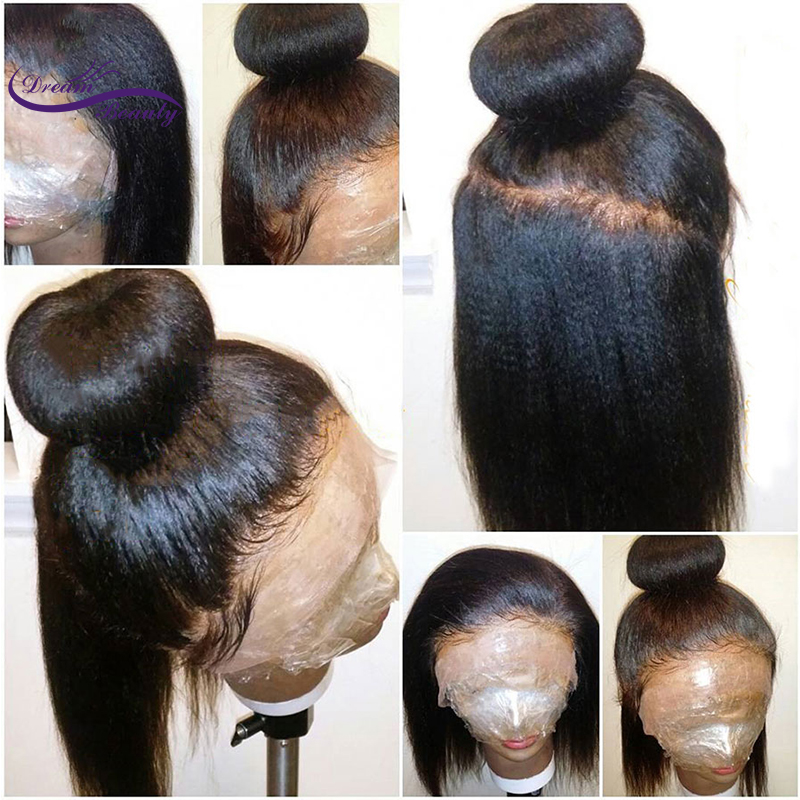 Dream Beauty Pre Plucked Lace Front Human Hair Wigs With Baby Hair Brazilian Remy Hair Italian Light Yaki Straight Wigs