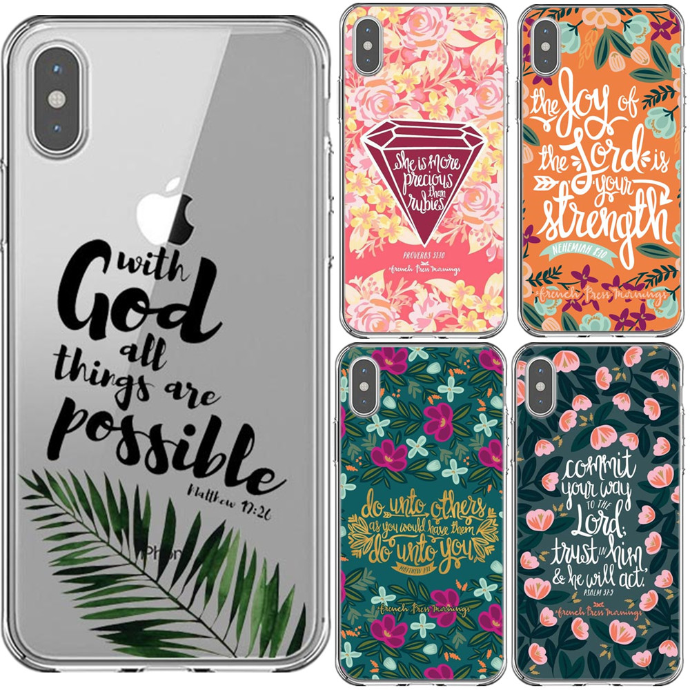 Bible verse Phone Case For iPhone 11 Pro Max XS XR XA MAX 5S SE 6 6s 7 8 Plus Philippians Jesus Christ Christian Silicone Cover image