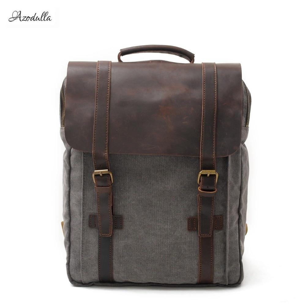 M062 New Fashion Backpack Leather Canvas Men Backpack School Bag Military Backpack Women Rucksack Male Knapsack