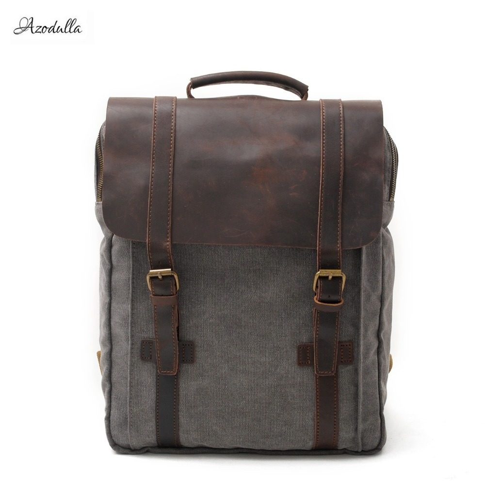 M062 New Fashion Backpack Leather Canvas Men Backpack School Bag Military Backpack Women Rucksack Male Knapsack Bagpack Mochila