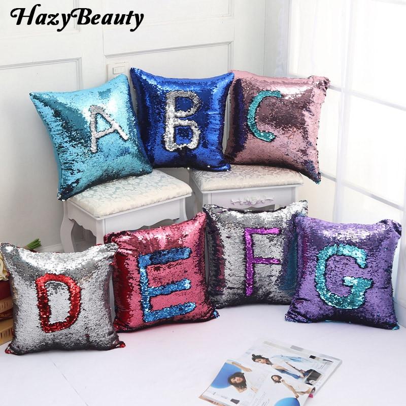 16*16 inch Reversible Sequin Mermaid Throw Pillow Cushion Cover Car Home Decoration Sofa Bed Decor Decorative Pillowcase