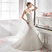Hot Sale New Mermaid Wedding Dresses Criss Cross Applique Beads And Pearls Covered Bridal Gown Vestido