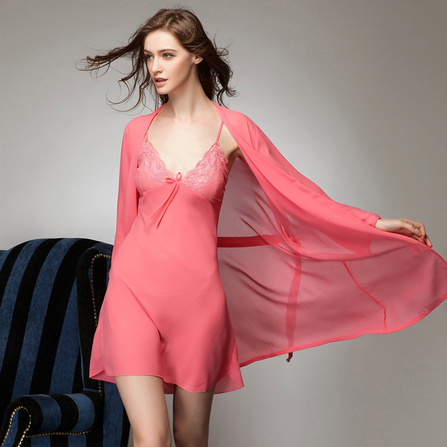 5b60f139ee New Sexy Women s Robe 50% Mulberry Silk Pajama Sets Dress+Bathrobe  Pink Black White Women Nightwear Home Clothing FreeShipping