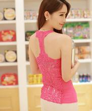 Wholesale 2 pc/lot  Tanks & Camis norm back full hollow lace crochet small vest Waichuan word bottoming shirt Slim female 11113