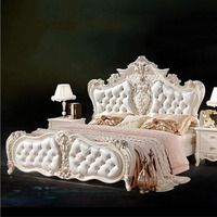 modern european solid wood bed Fashion Carved leather french bedroom furniture pfy10050