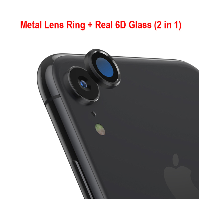 Back Camera Lens Screen Protector for iPhone XR 6D Tempered Glass Film + Metal Rear Lens Protection Ring Case Cover Accessories 1