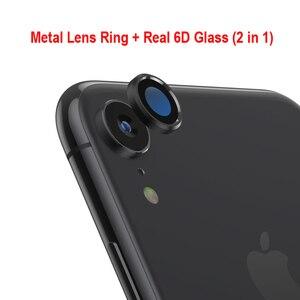 Image 2 - Tylna osłona obiektywu do aparatu iPhone XR 6D folia ze szkła hartowanego + metalowa osłona tylnego obiektywu osłona skrzynki akcesoria