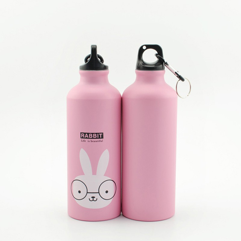 500ML Cute Cartoon Pattern Portable Aluminum Water Bottle Outdoor Cycling Hiking Drinking Bottles Kitchen Supplies