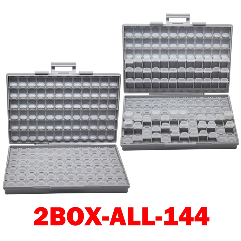 AideTek SMD хранения резистор SMT конденсатор с алюминиевой крышкой, электроника для хранения разного рода дисков и органайзеры прозрачный ящик для хранения ящик пластиковый боксал - Цвет: 2BOX-ALL-144
