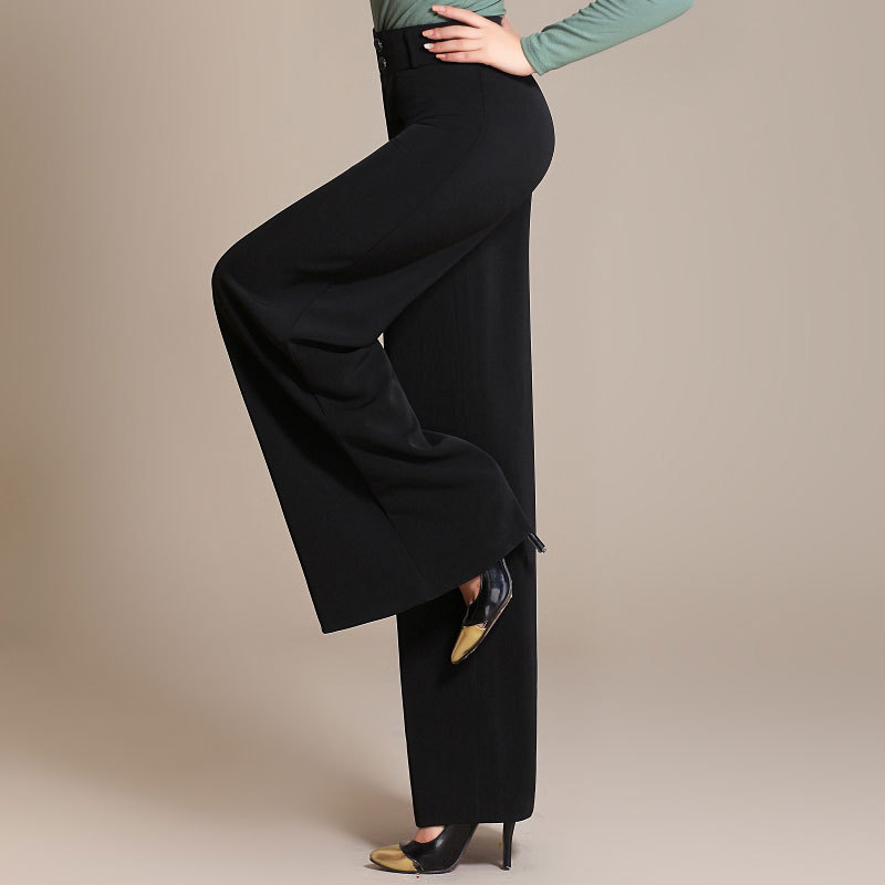 Hot Sale Brand Women High Waist Plus Size   Wide     Leg     Pants   For Fat   Leg   Big Hip Harem Straight Polyester Autumn Winter   Pants   6XL