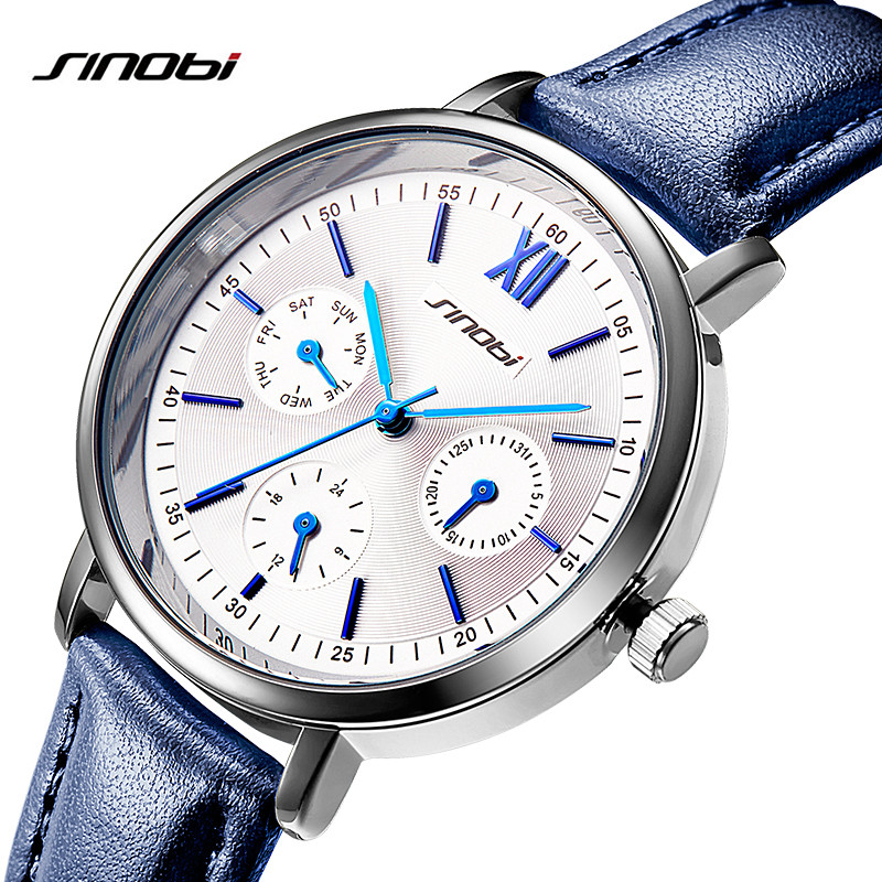 New SINOBI Top Women Watches Ladies Fashion Wrist Watch Clock Leather Strap Gold Quartz Watches Female Casual Watch Reloj Mujer
