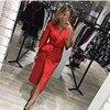 Fall 2017 Fashion European Style Vintage Midi Dress Autumn Casual Sexy Elegant Maxi Party Dresses Red