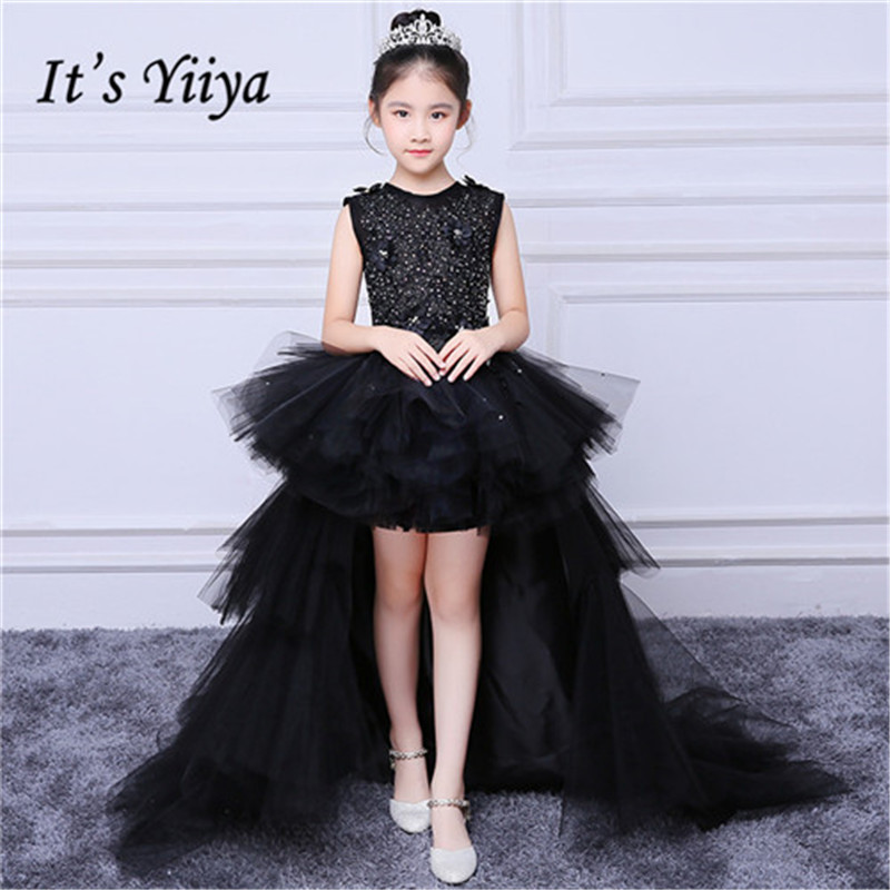 It's yiiya New Black Bling O-neck Sleeveless Trailing   Flower     Girl     Dresses   Two Usable Train   Girl     Dress   MT002