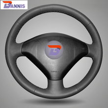 BANNIS Black Artificial Leather DIY Hand-stitched Steering Wheel Cover for Peugeot 307 Car