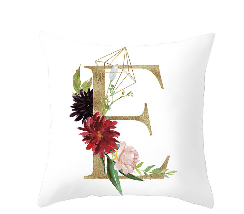 2019 New Nordic Style Pillowcase Geometric Golden Letter Pillows Peach Skin Sofa Cushion Cover Home Decoration Hotel Decoration