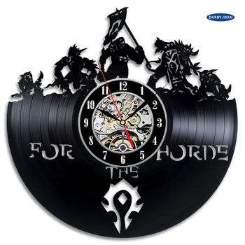 World of Warcraft WOW Gift Vinyl Wall Clock Vintage Decor Demon Illidan Figure,wall clock  saat alarm clock reloj large