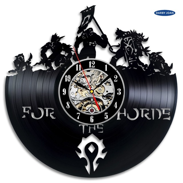 World of Warcraft WOW Gift Vinyl Wall Clock Vintage Decor Demon Illidan Figure,wall clock  saat alarm clock reloj large