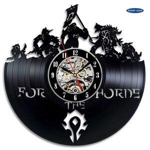 World of Warcraft WOW Gift Vinyl Wall Clock Vintage Decor Demon Illidan Figure,wall clock saat alarm clock reloj large(China)