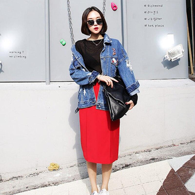 RUGOD 2018 Vintage Fashion Wash Water Denim Jacket badge Loose BF Denim Coat Hole Female Outerwear Plus Size Chaquetas Mujer 1