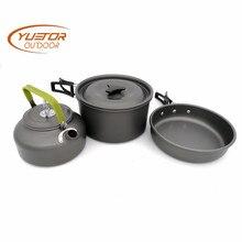 YUETOR Открытый Портативный походный набор для приготовления пищи на 2-3 человека металлический чайник для заваривания кастрюль и кастрюль столовые приборы