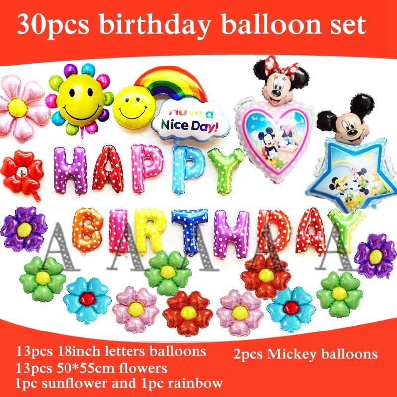 30pcs happy birthday balloons mickey minnie foil balloons Ariel princess birthda