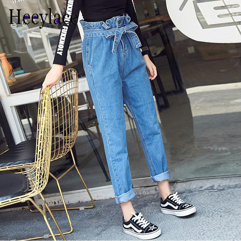 High waist sash harem   pants   women vintage trousers Streetwear 2018 spring casual   pants   female Zipper button   pants     capris   bottom