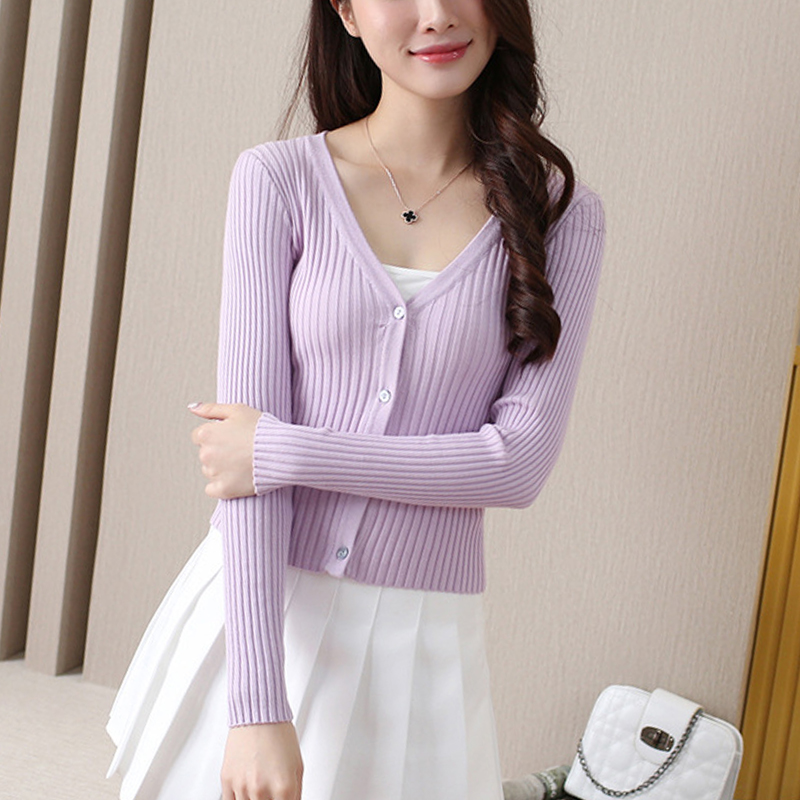 12 Colors Autumn Short Knitted Cardigan Jacket Women Female Coat Button Up Slim All Matched Little Cardigan Sweater Knitwear in Cardigans from Women 39 s Clothing