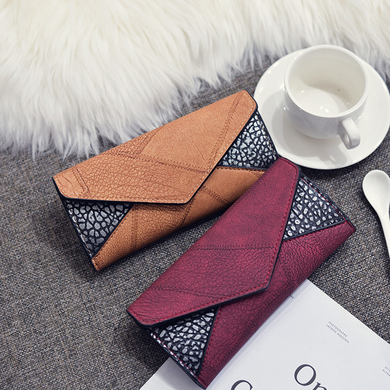 PU Leather Splicing Womens Wallets Long Clutch Hasp lady Purses Card Holder Coin Money Pocket Female Wallet Cartera