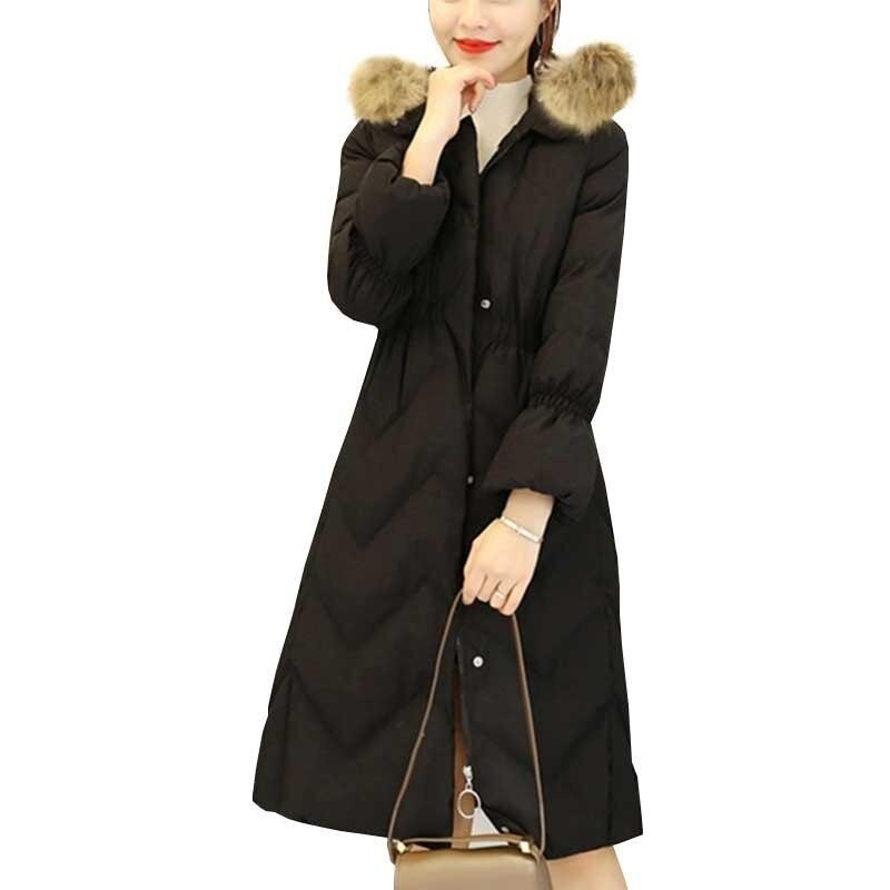 Mulheres Inverno Casaco Longo Para Baixo Casaco 2018 Moda Rosa Com Capuz Gola De Pele de Algodão Acolchoado Engrossar Parkas Mujer Magro Sobretudo Ls10 - 2