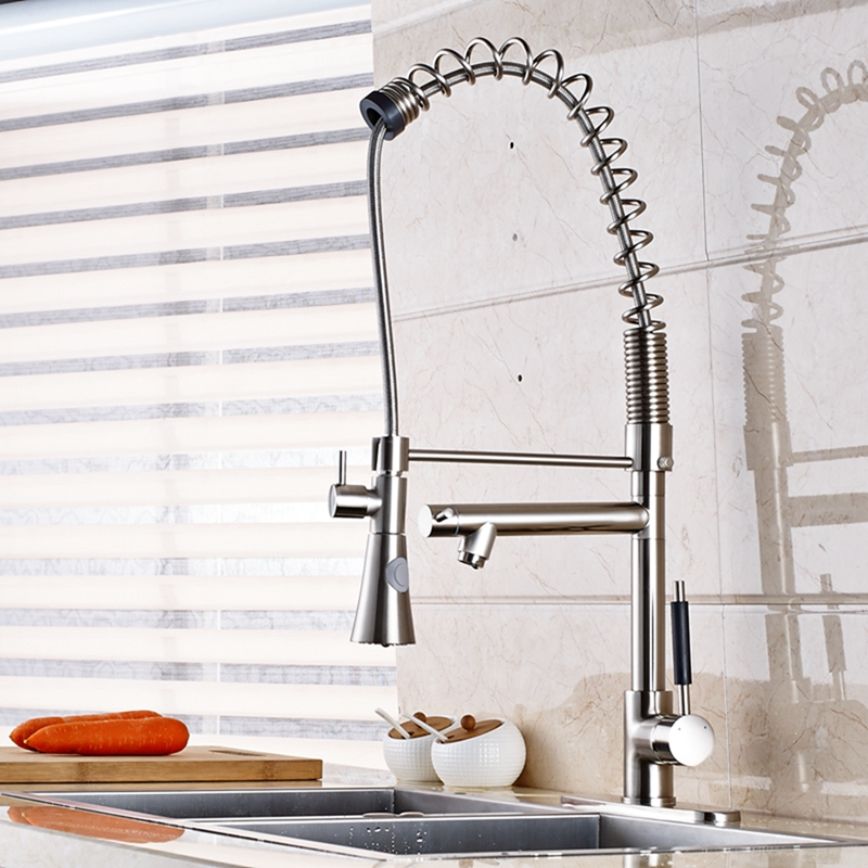 Tall Brushed Nickel Kitchen Faucet Dual Spouts Vessel Sink Mixer Tap Cover Plate tall tales