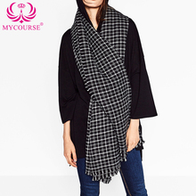 MYCOURSE Autumn Winter Small Plaid Pattern Warm Scarf Fashion Lady Women Winter Autumn Long Tartan Shawl Gird Scarves Pashmina