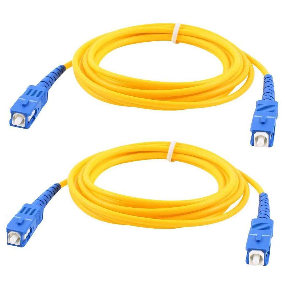 MAHA 2 Pcs Simplex Single Mode SC to SC Male Power Cable Fiber Optic Patch Yellow 2M