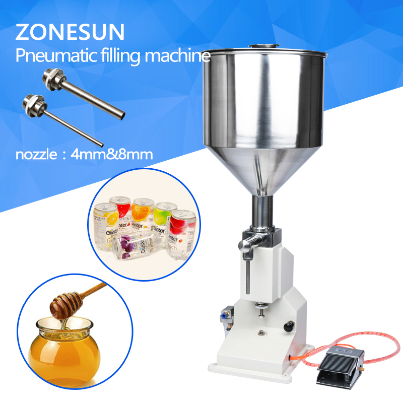 ZONESUN Pneumatic filling machine A02 NEW Manual Filling Machine (5~50ml) for cream shampoo cosmetic,Liquid filler zonesun a02 filling machine stainless steel pneumatic paste liquid filling machine 5 50ml tank capacity 10kg