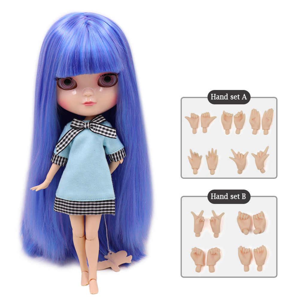 DBS ICY BONECA pequena mama corpo azone fortuna dias BL7216/6208 azul mix roxo cabelo com bangs/franjas 30cm