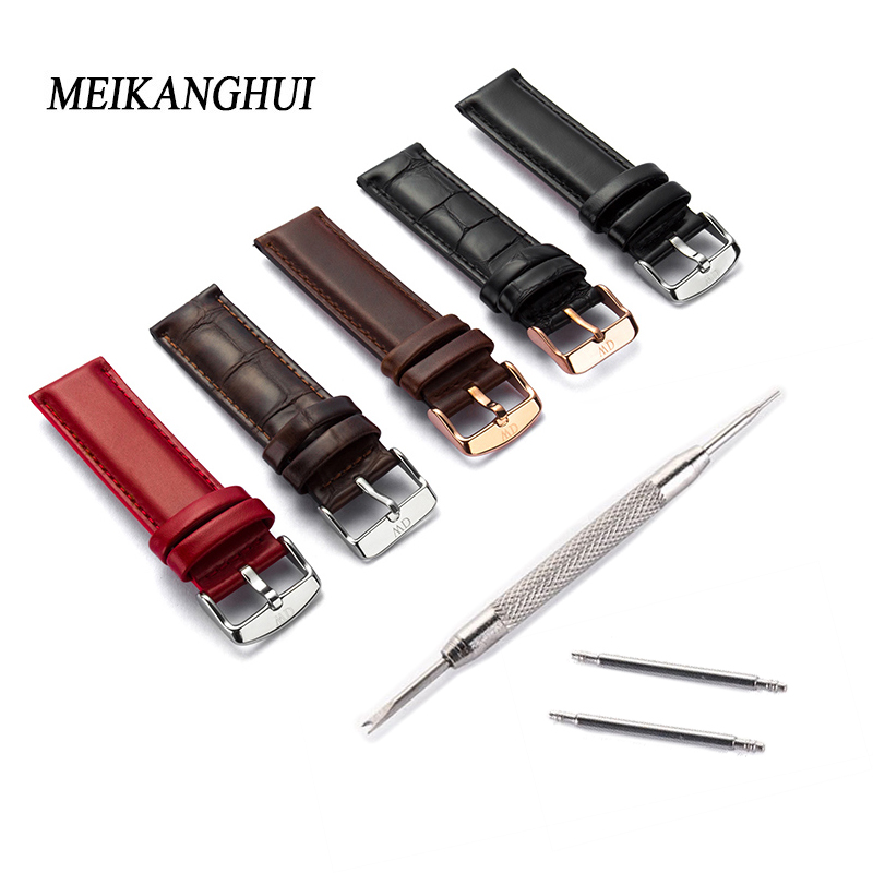 Genuine Cow Leather Strap Watch Bracelet With Buckle leather Vintage Watch Band For Women 12mm 13mm 14mm 20mm 18mm Watchband way deng women men vintage soft plain genuine leather watch band strap 18mm 20mm silver pin buckle watchband y087