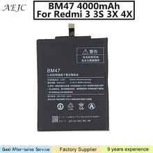 Для Xiaomi Redmi 3 3 S 3X Батарея 4000 мАч BM47 литий-полимерный Bateria Замена для Redmi 4X батареи