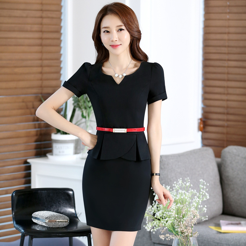 2016 Plus Size Jewelry Beautician Shop Occupation Dress Short Sleeve Sashes Zipper V neck Overalls Work