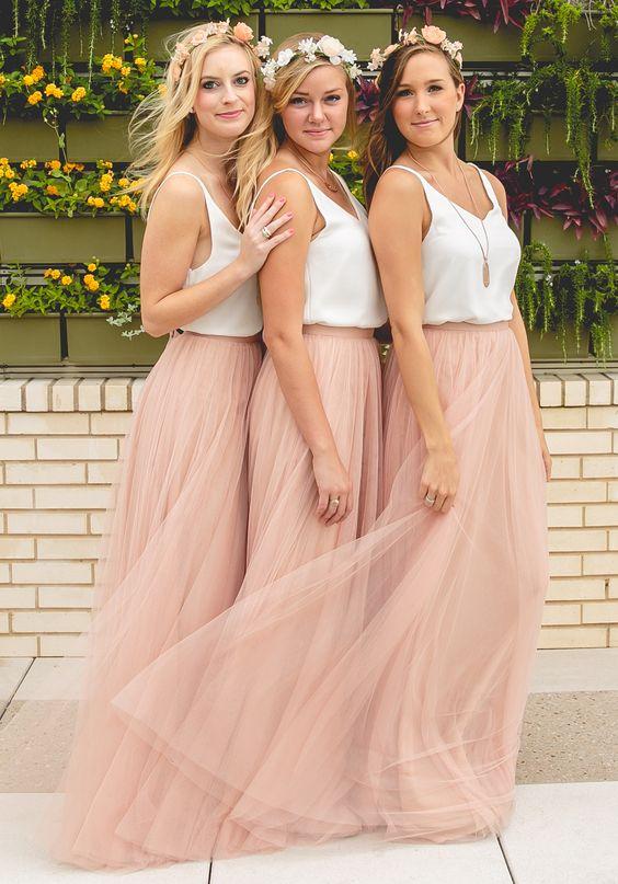 New Design Long   Bridesmaid     Dress   2017 V-neck Sleeveless A-Line Tulle Floor Length Wedding Party   Dresses   Vestido longo