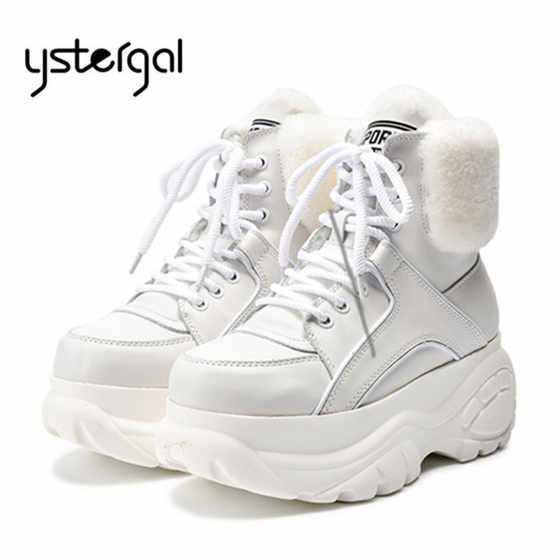 Ystergal White Women Ankle Boots Female 7CM Platform Creepers Winter Warm Fur Botas Mujer Flat Snow Boots High Tops Riding BootYstergal White Women Ankle Boots Female 7CM Platform Creepers Winter Warm Fur Botas Mujer Flat Snow Boots High Tops Riding Boot