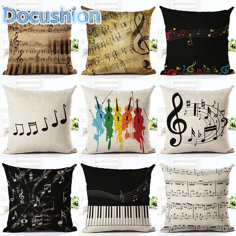 Music Series Note Printed Linen Cotton Square 45x45cm Home Decor Houseware Throw Pillow Cushion Cojines Almohadas