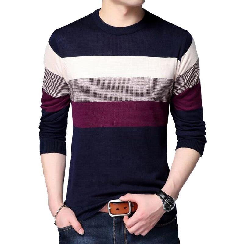 san francisco 8ceb3 62f28 Neue Mode Marke Pullover Herren Pullover Striped Slim Fit Jumper Knitred  Woolen Herbst Koreanische Stil Casual Männer Kleidung