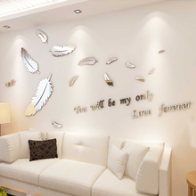 Decal Mirror Wall-Stickers Mural Bedroom Living-Room 3d Acrylic Tv Background DIY