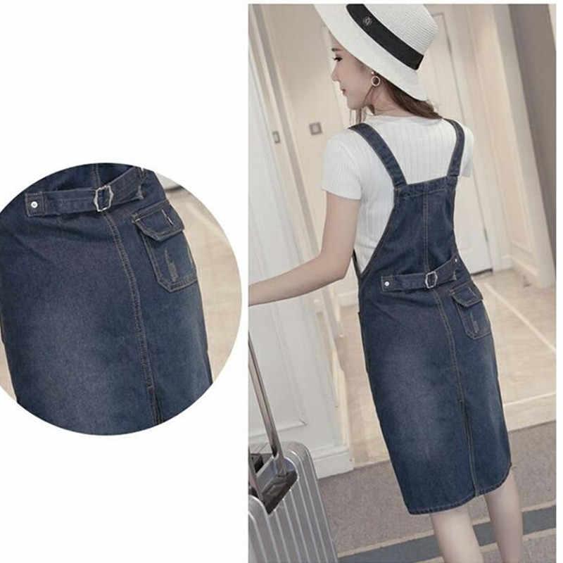 Большой Размеры платье из джинсовой ткани Для женщин 2018 летние свободные Спагетти ремень карман платье из джинсовой ткани повседневные джинсы для девочек Платья для вечеринок комбинезоны 5XL