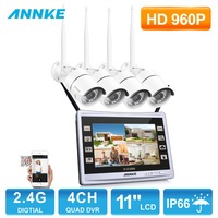 ANNKE 4CH 960P Wireless DVR Video Security System with 11 LCD Monitor Real 4pcs 960P IP Camera Plug and Play No Wiring Needed