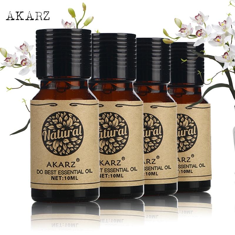 цена на AKARZ Famous brand tea tree rose peppermint lemon essential oil Pack For Aromatherapy, Massage,Spa, Bath 10ml*4