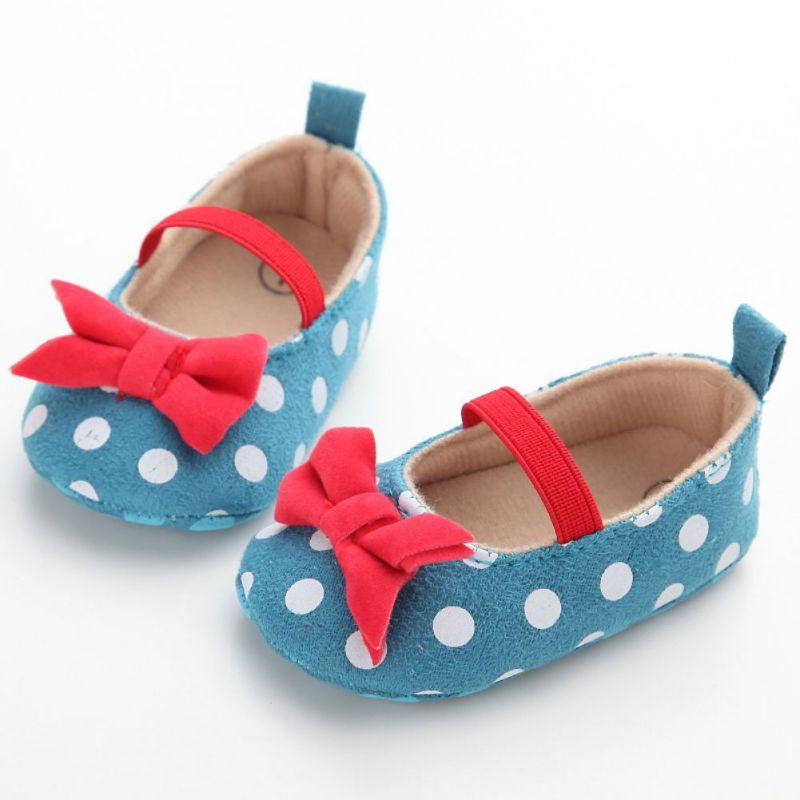 Sweet Baby Girls Princess Polka Dot Big Bow Infant Toddler Ballet Dress Soft Soled Anti-slip Shoes Footwear First Walkers Baby Shoes
