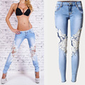 Fashion Women Lace Spliced Jeans Sexy Hollow out Washed white Denim Pants Female Low waist Slim Pencil Pants QL2134